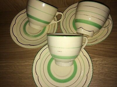3 Art Deco Cups & Saucers In Green And White With Gilt Trim By Clarice Cliff