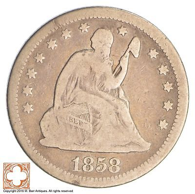 1858 Seated Liberty Silver Quarter *SB32