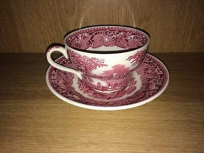 Large Vintage Cup & Saucer In Maroon And White By Masons In The Vista Pattern