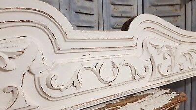 "Shabby Carved Wood Pediment 50"" Huge Antique French Architectural Salvage Crest"