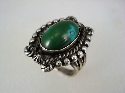OLD Fred Harvey era STERLING SILVER & GREEN TURQUOISE RING size 6
