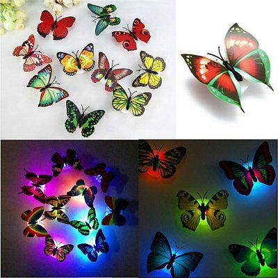 LED Colorful Changing Butterfly Night Light Lamp Room Party Desk Wall Decor