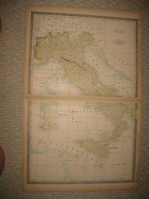 LARGE FINE Antique 1891 Italy Map Sicily Sardinia Corsica Latium