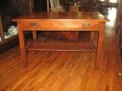 "WE SHIP! Mission Oak L&JG Stickley Library Table w/Drawer 48"" #531 Arts & Crafts"