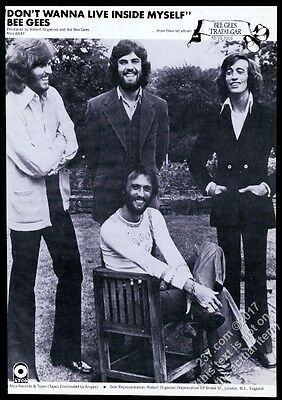 1971 The Bee Gees photo Don't Wanna Live Inside Myself record release trade ad