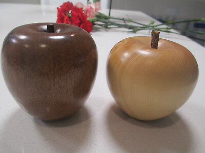 Beautiful Wood Carved Apple (Huon Pine?) Plus A Dark Brown Wood Carved Apple