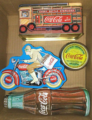 Coca-Cola Coke TINS Bottle Delivery Truck Motorcycle Lid Tin LOT of 4