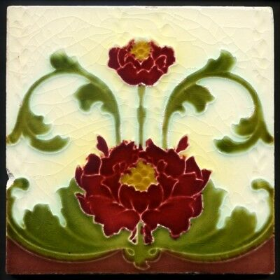 TH3084 Art Nouveau Majolica Tile Cleveland c.1905