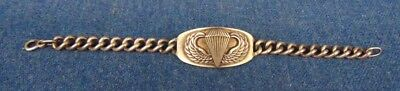 """WWII 1940's Army Airborne Paratrooper Sterling Insignia Bracelet 8"""""""