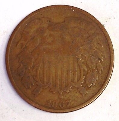 1867 2 Cent US Coin, Two Cents USA