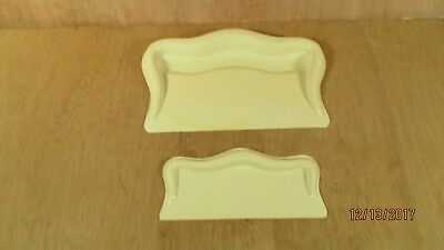 """2 Vintage Fuller Brush French Ivory Crumb Tray Advertising 8 7/8"""" W & 6 1/2"""" W"""
