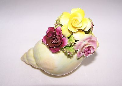"""Vintage DRESDEN FLORAL Fine Bone China in Seashell Made in England 3 1/4""""x2 1/2"""""""
