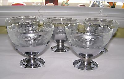 Vintage Ice crean Sundae 5 Scalloped Glass Inserts with 6 Alumimun Holders  VGC