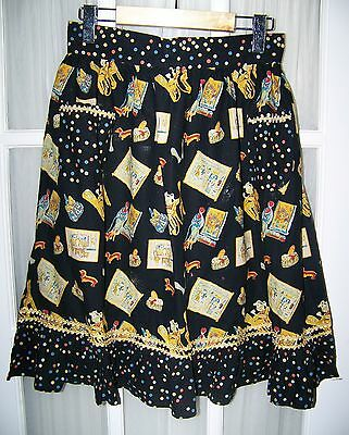 NWT April Cornell APRIL'S Original DOGS OF PARIS cotton APRON Black w/ PolkaDots