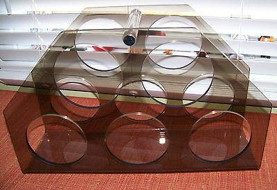 Mid Century LUCITE Wine Rack Smoke & Clear Thick Lucite 5 Bottle Holder     VGC