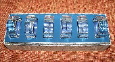 6 Mid Century Modern Plain Crystal Glass 8 sided Napkin Rings in Original Box