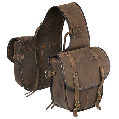 Tough 1 Soft Leather Adjustable Horn Bag W/ Dee Rings Two Pockets Brown