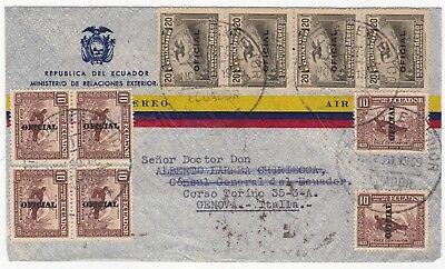 1939 Ecuador Airmail To Italy 26 Stamps Including 22 Official Overprints