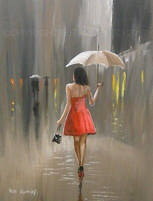Pete Rumney Art Original Canvas Red Dress Girl In The Rain Hand Painted New