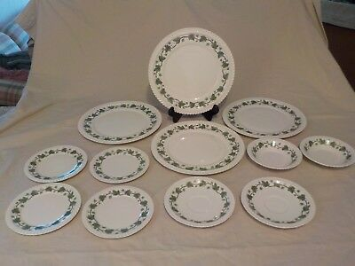 """IVY"" Harker Pottery Royal Gadroon Green Ivy 12 Pieces"