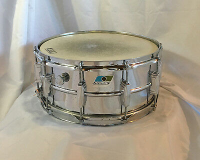 """'Players' blue-olive LUDWIG LM402 Supraphonic 6.5""""x14"""" snare drum w/NR!"""