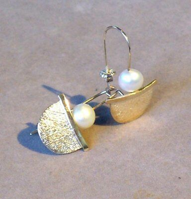 ULTRA MODERN ARTIST ORIGINAL NATURAL PEARL (8mm) STERLING SILVER EARRINGS - NOS