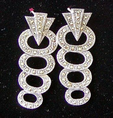 VINTAGE ESTATE LONG DANGLING and VERY MOVABLE MARCASITE STERLING SILVER EARRINGS