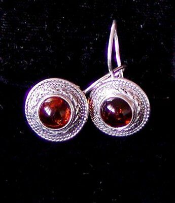 "VINTAGE LONG BALTIC AMBER STERLING SILVER EARRINGS BY ""V-8"" from POLAND NEW O ST"