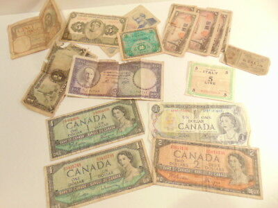 Lot of at least 20 vintage foreign currency notes: some WWII era, mixed lot