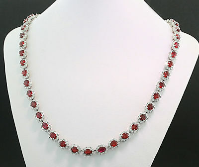 rubin-gloss Necklace Together 40,28 CT, 49 Ruby unerhitzt taubenblutrot AIGS