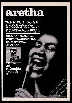 1961 Aretha Franklin photo Are Your Sure record release GREAT vintage trade ad