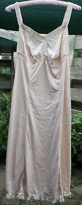 BEIGE    knee length RETRO  SIZE 16  PETTICOAT  in  gc slightly flared at bottom