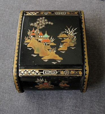 Antique 6 Mb England Decorated With Japanese Landscapes Enameled Black Tin Box
