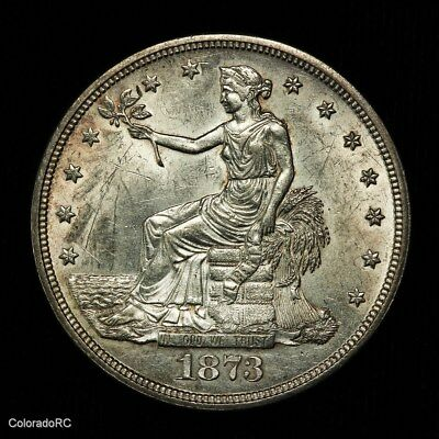 1873 U.S. Silver Trade Dollar in AU+ to BU Condition - Great Detail