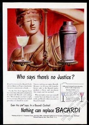 1945 Bacardi Rum blind justice art cocktail drink recipes vintage print ad