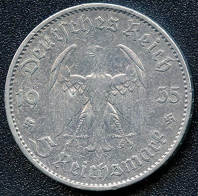"""1935 """"A"""" Germany 5 Mark Silver Coin ( 13.88 grams .900 Silver )"""