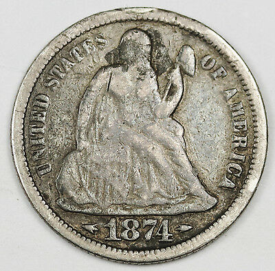 1874 Liberty Seated Dime.    Love Token.  112664