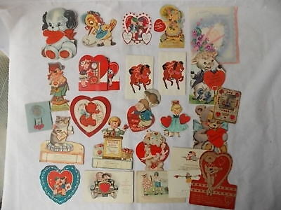 Lot of Vintage Valentines 1920s-50s Mechanical Cat Dog Pig Pirate Honeycomb