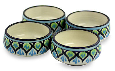 Soup Bowls Set of 4 Ceramic Blue White Handmade 'Owl' NOVICA Guatemala