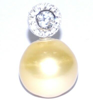Amazing Luster Large South Sea Natural Gold 15.86mm Round Pearl Fabulous Pendant