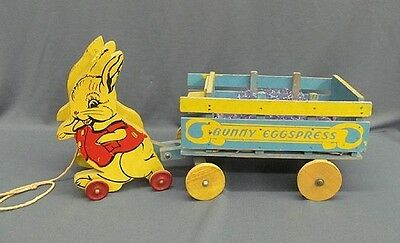 1920-40 Pull Toy Easter Bunny Rabbit Pulling Bunny Eggspress Wagon Painted Wood