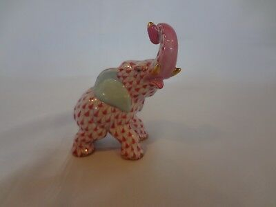 Herend Figurine - Small Elephant w/Raised Trunk - Raspberry Fishnet Pattern