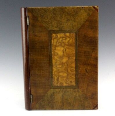 Antique Exotic Burl Wood Marquetry Inlay Wooden Book Jewelry Trinket Storage Box