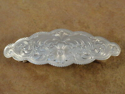 Beautiful Etched Sterling Silver Hair Barrette