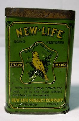 Antique~NEW-LIFE SONG RESTORER Tin Litho BIRD FOOD or Seed~CAN With Lid