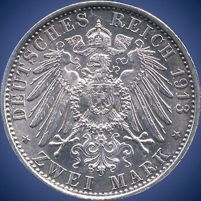 """1913 """"A"""" Germany (Prussia) 2 Mark Silver Coin (11.111 Grams .900 Silver)"""