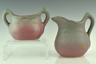 Hull Mulberry Studio Hand Crafted Art Pottery Open Sugar Bowl & Milk Pitcher Jug