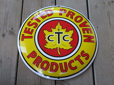 CTC Canadian Tire Tested Proven Products Porcelain Button Sign