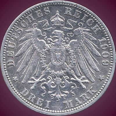 """1909 """"A"""" Germany (Prussia) 3 Mark Silver Coin (16.667 Grams .900 Silver)"""