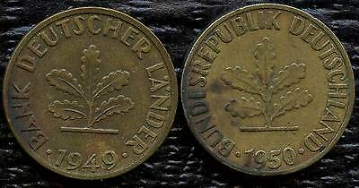 Germany 1949 'J' & 1950 'F' 5 Pfennig Coins